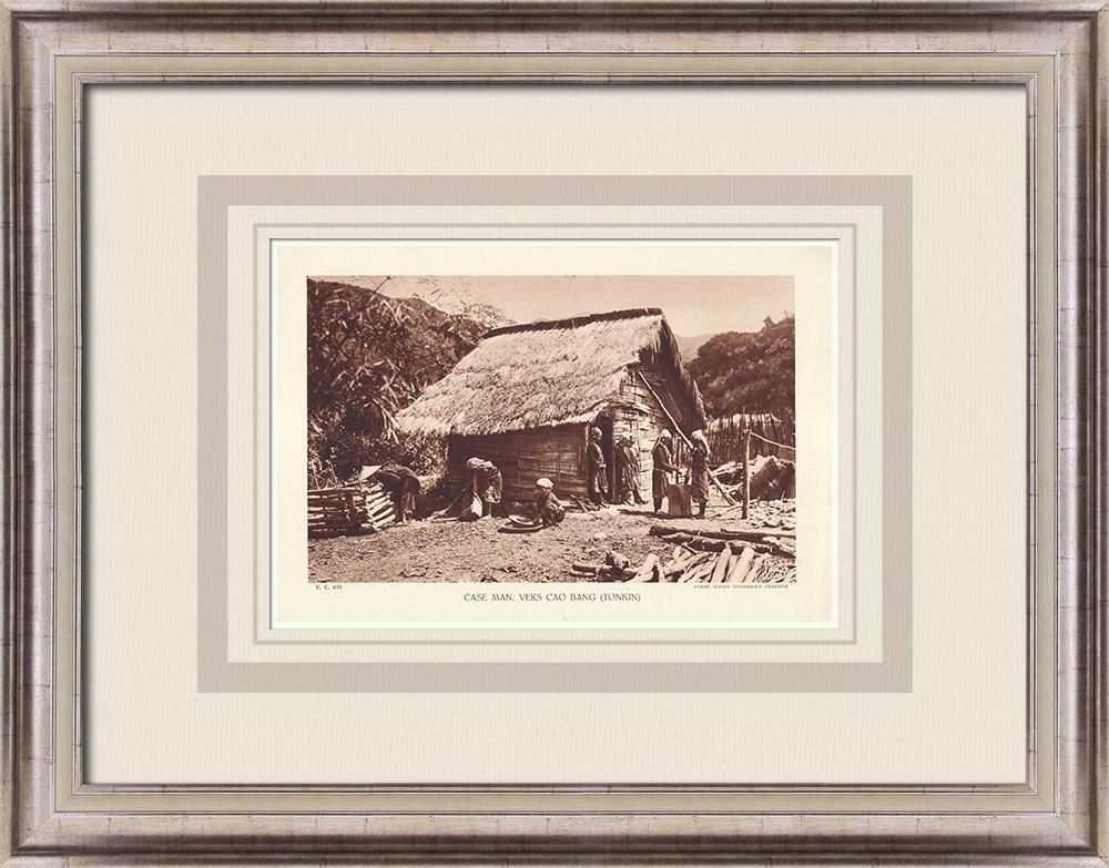Gravures Anciennes & Dessins   Case Man près de Cao Bang (Tonkin)   Héliogravure   1936