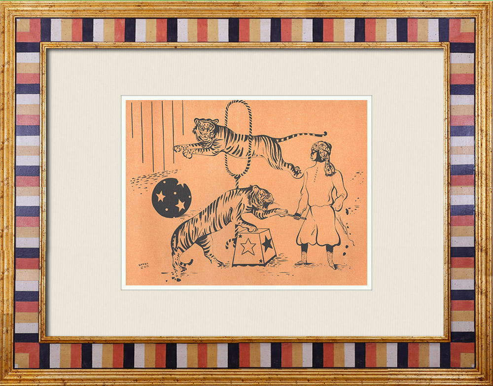 Antique Prints & Drawings | Circus - The tiger tamer | Lithography | 1944