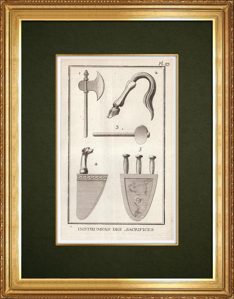 Gravures Anciennes & Dessins   Instruments pour les sacrifices   Gravure sur cuivre   1773