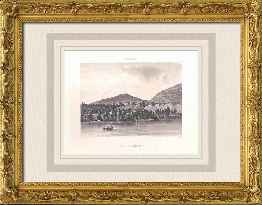 Gravures Anciennes & Dessins   Mont Salève - Lac Léman - Haute-Savoie (France)   Aquatinte   1863