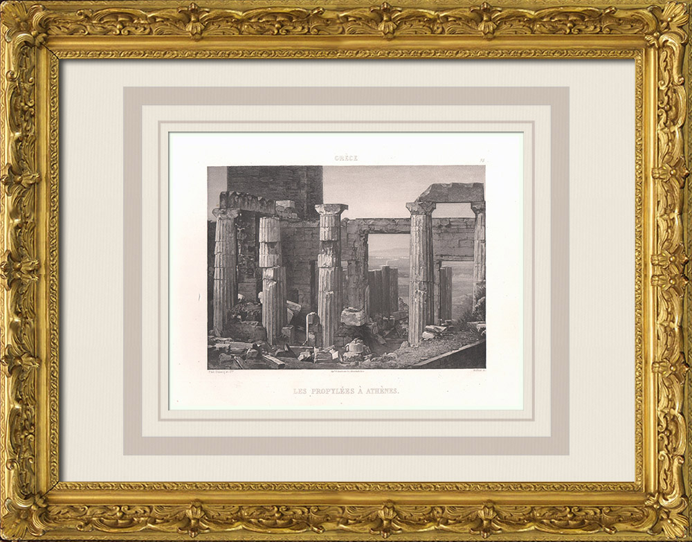Gravures Anciennes & Dessins | Propylées - Acropole d'Athènes - Grèce Antique (Grèce) | Aquatinte | 1863