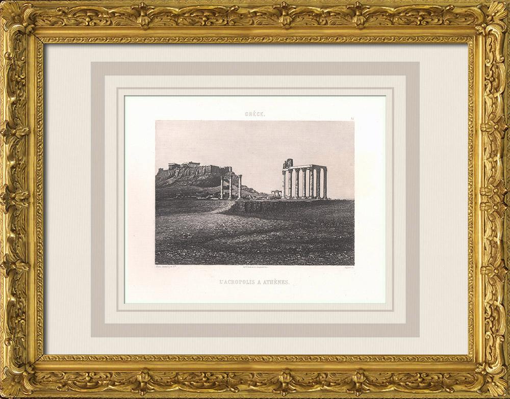 Gravures Anciennes & Dessins   Acropole d'Athènes - Grèce antique - Propylées - Temple d'Athéna Nikè (Grèce)   Aquatinte   1863