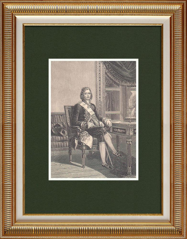 Gravures Anciennes & Dessins   Portrait de Talleyrand - Homme Politique et Diplomate Français (1754-1838)   Gravure sur bois   1870