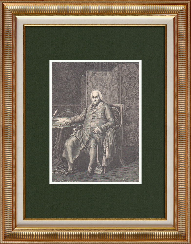Antique Prints & Drawings   Portrait of Jean-Baptiste de Belloy (1709-1808)   Wood engraving   1870