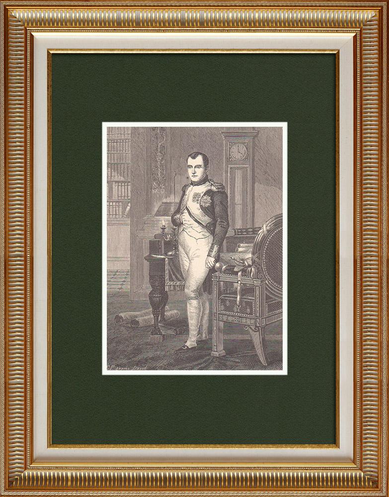 Gravures Anciennes & Dessins   Napoléon dans son cabinet de travail (Jacques Louis David 1812)   Gravure sur bois   1870