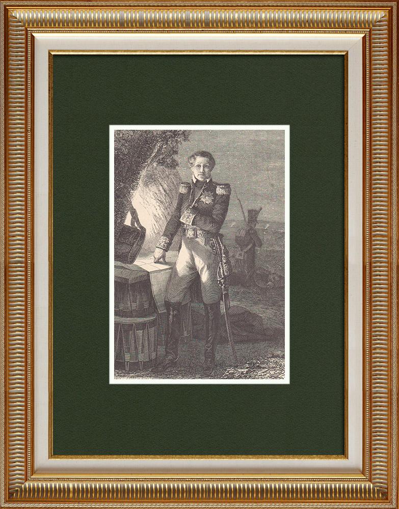 Gravures Anciennes & Dessins | Portrait de Laurent de Gouvion Saint Cyr - Maréchal d'Empire (1764-1830) | Gravure sur bois | 1870
