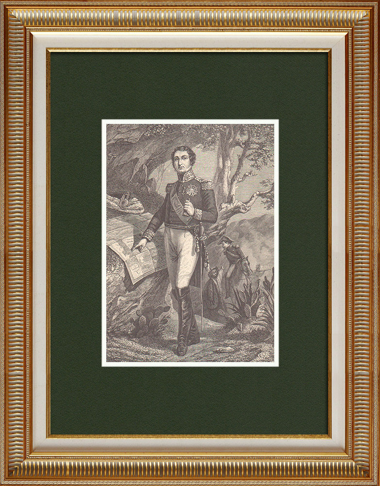 Antique Prints & Drawings   Portrait of Marshal Soult - Marshal of the Empire (1769-1851)   Wood engraving   1870