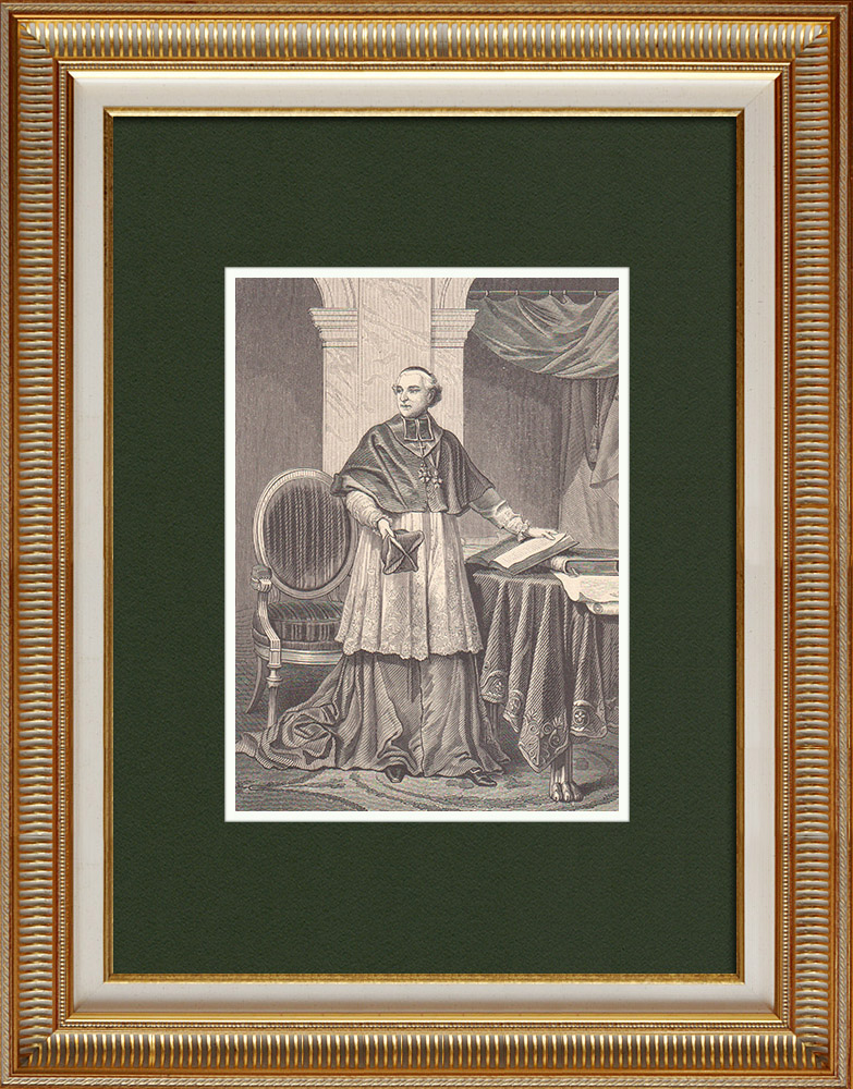 Gravures Anciennes & Dessins   Portrait du Cardinal Joseph Fesch (1802-1836)   Gravure sur bois   1870