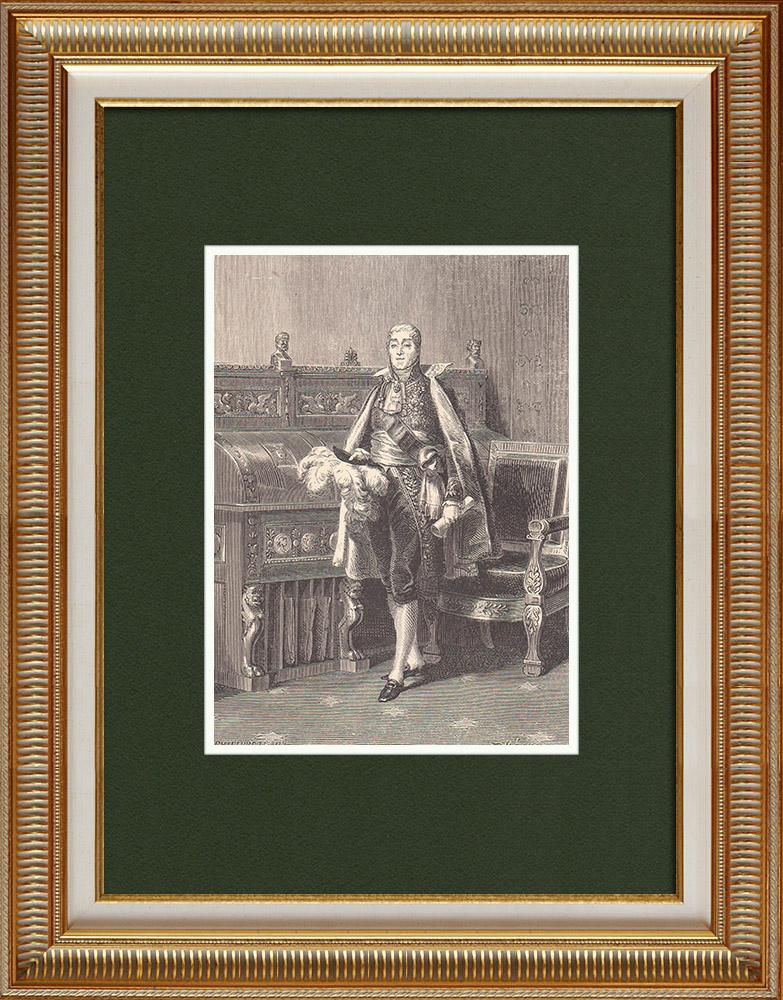 Gravures Anciennes & Dessins   Portrait de Joseph Fouché - Homme Politique Français (1759-1820)   Gravure sur bois   1870