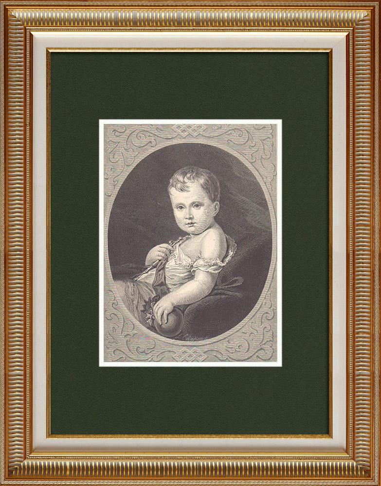 Gravures Anciennes & Dessins   Napoléon II Roi de Rome - Fils de Napoléon Ier et de Marie Louise d'Autriche (1811-1832)   Gravure sur bois   1870