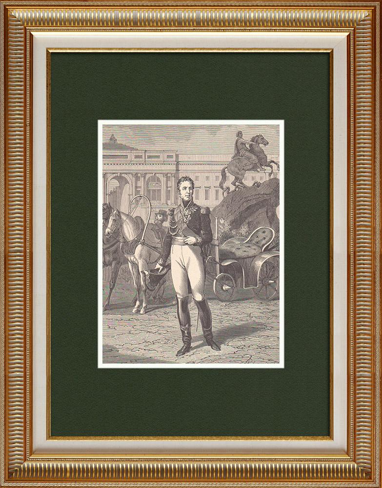 Antique Prints & Drawings | Portrait of Jacques Alexandre Law de Lauriston (1768-1828) | Wood engraving | 1870