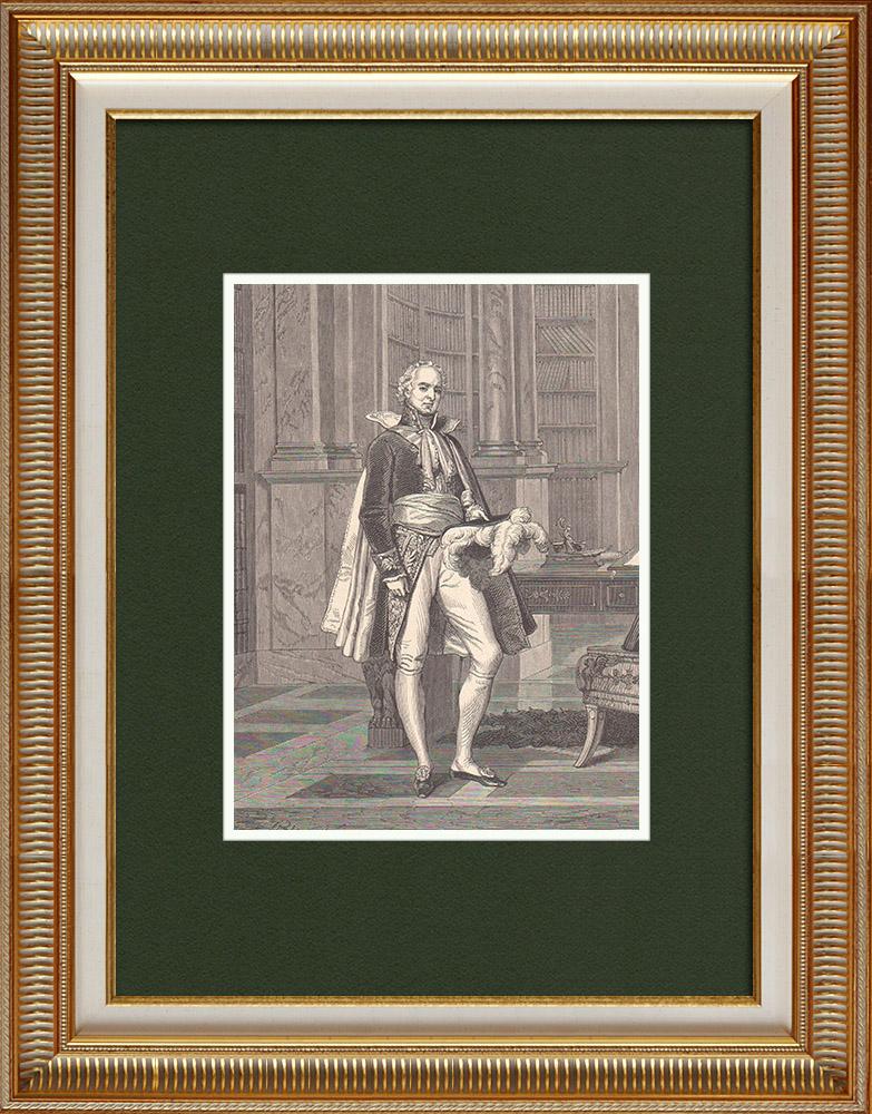 Antique Prints & Drawings | Portrait of Hugues-Bernard Maret, duke of Bassano (1763-1839) | Wood engraving | 1870