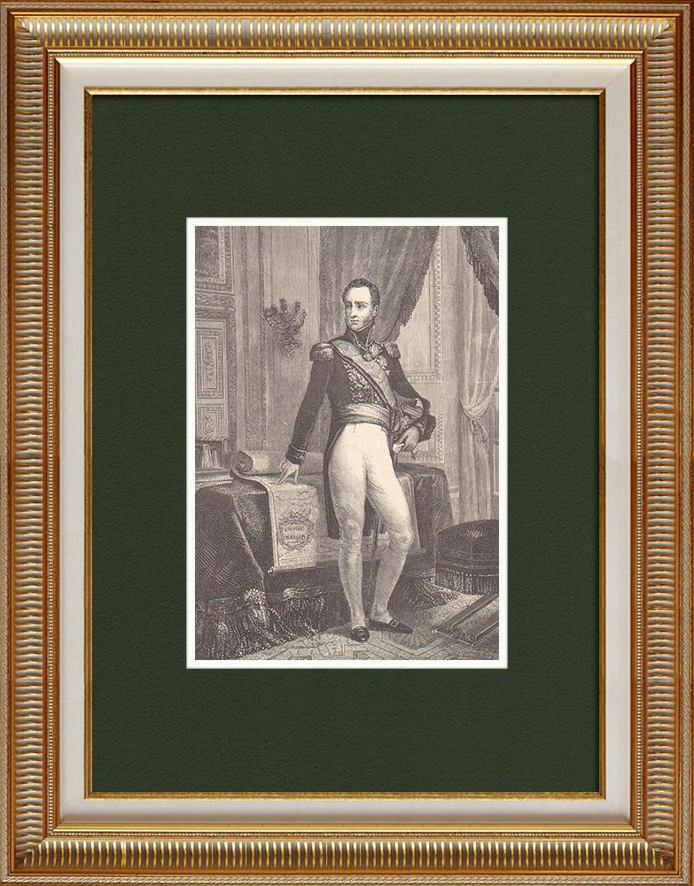 Gravures Anciennes & Dessins   Portrait du général Armand de Caulaincourt, duc de Vicence (1773-1827)   Gravure sur bois   1870