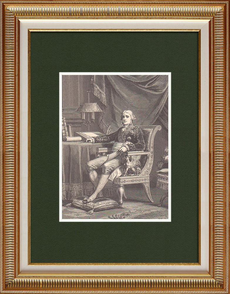 Gravures Anciennes & Dessins | Portrait de Cambacérès - Homme politique français (1753-1824) | Gravure sur bois | 1870