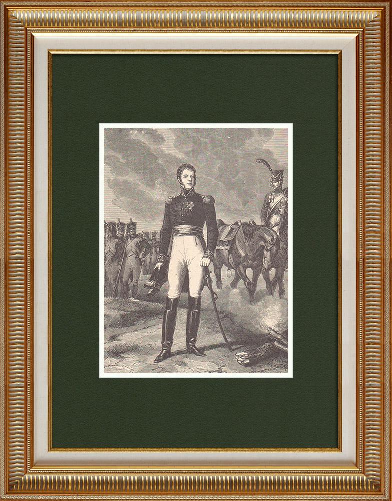 Antique Prints & Drawings   Portrait of Nicolas-Joseph Maison - Marshal of France (1771-1840)   Wood engraving   1870