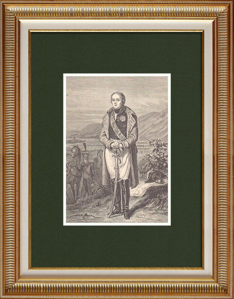 Gravures Anciennes & Dessins   Portrait de Henri Gatien Bertrand - Grand maréchal du palais - Napoléon (1773-1844)    Gravure sur bois   1870
