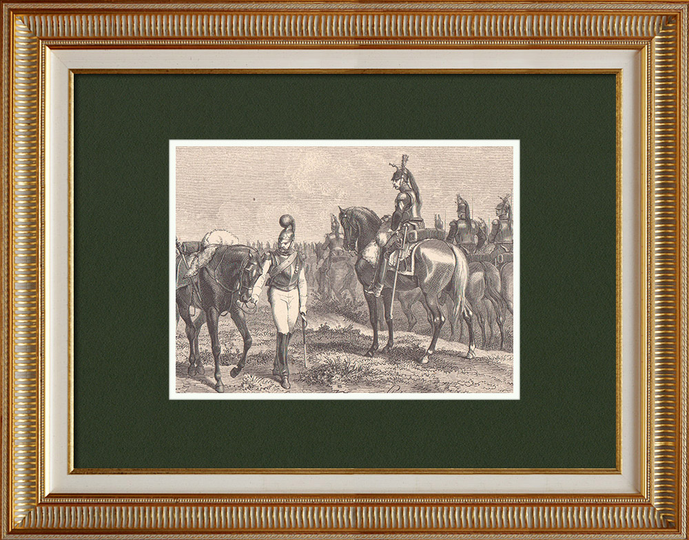 Gravures Anciennes & Dessins   Soldat Napoléonien - Uniforme - Carabinier à cheval - Cuirassier - Premier Empire   Gravure sur bois   1870