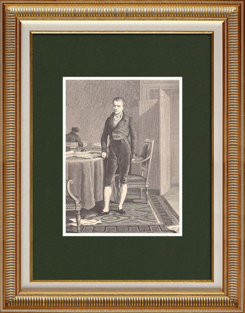 Gravures Anciennes & Dessins | Portrait de Emmerich Joseph de Dalberg (1773-1833) | Gravure sur bois | 1870