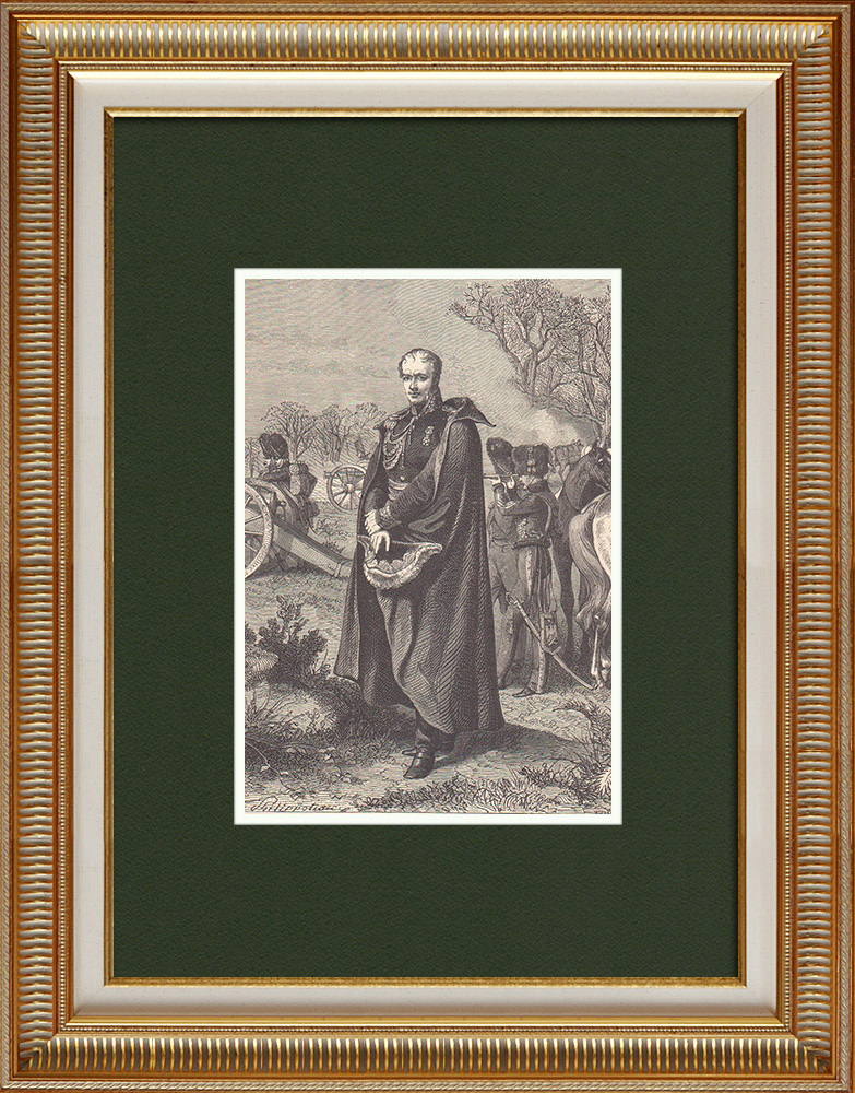 Antique Prints & Drawings | Portrait of Antoine Drouot - General of First French Empire (1774-1847) | Wood engraving | 1870