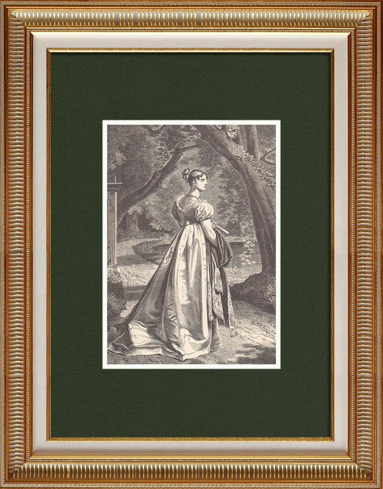 Gravures Anciennes & Dessins   Portrait de Catherine de Wurtemberg, épouse de Jérôme Bonaparte (1783-1835)   Gravure sur bois   1870