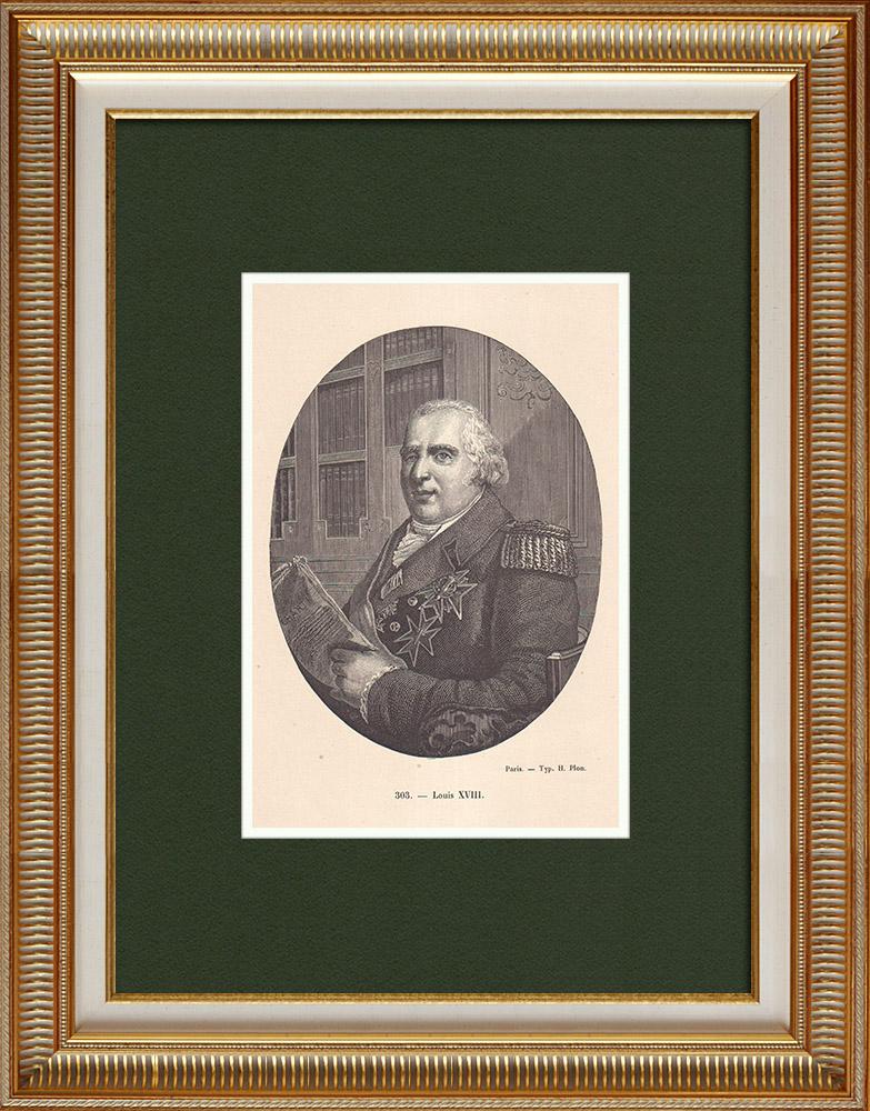 Gravures Anciennes & Dessins | Portrait de Louis XVIII, Roi de France (1755-1824) | Gravure sur bois | 1870