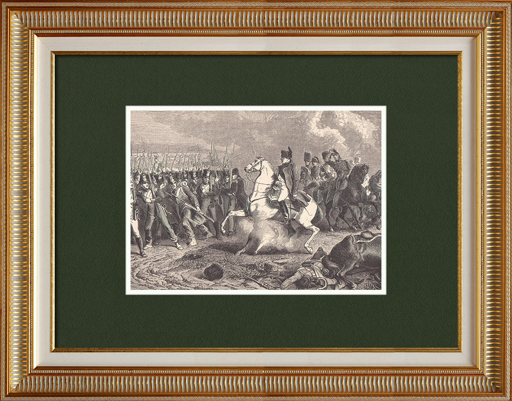 Grabados & Dibujos Antiguos | Batalla de Arcis-sur-Aube - Campaña de Francia - Ejército Austríaco (1814) | Grabado xilográfico | 1870