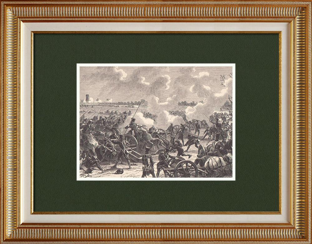 Gravures Anciennes & Dessins | Bataille de la Barrière de Vincennes - Défense de Paris - École polytechnique (Mars 1814) | Gravure sur bois | 1870