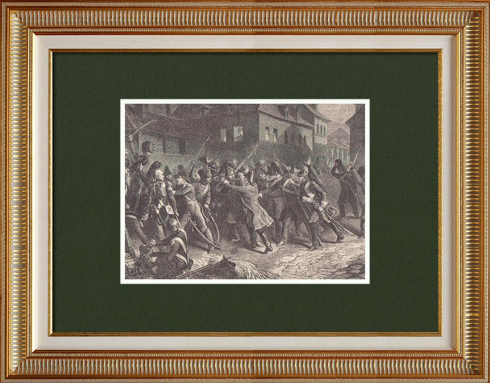 Gravures Anciennes & Dessins   Emeute militaire à Fontainebleau dans la nuit du 7 au 8 Avril 1814    Gravure sur bois   1870