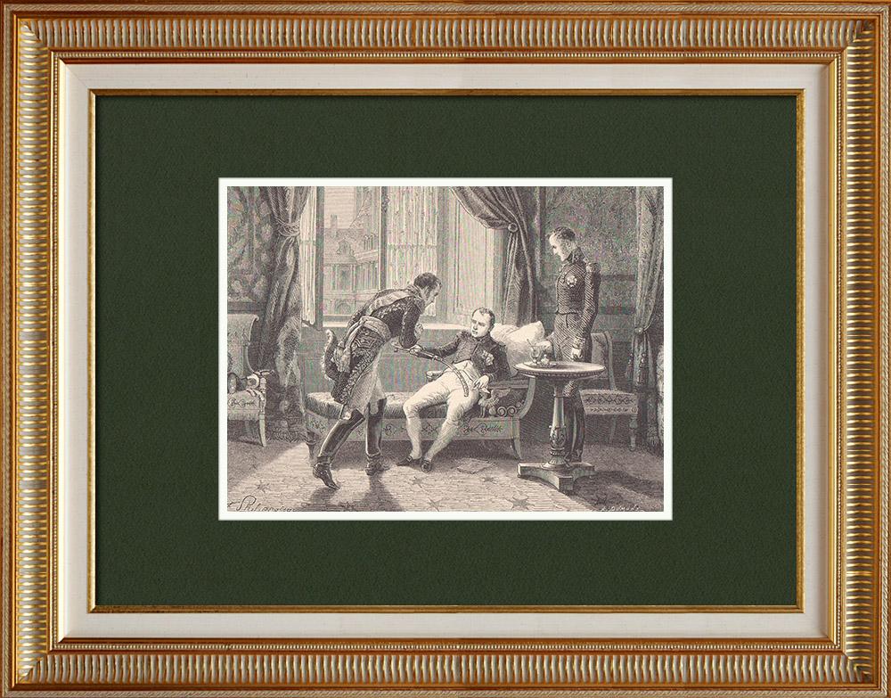 Gravures Anciennes & Dessins   Adieux du Maréchal Macdonald - Abdication de Napoléon (Avril 1814)   Gravure sur bois   1870