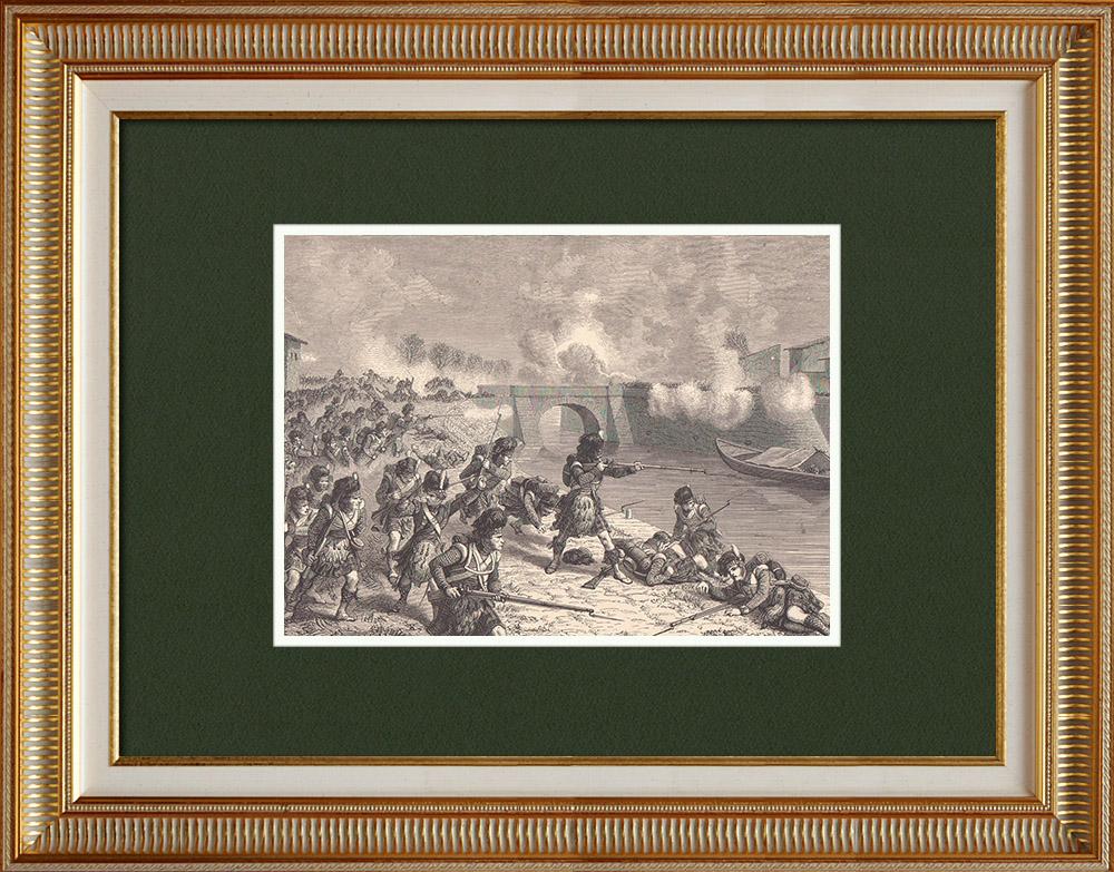 Antique Prints & Drawings | Battle of Toulouse - Soult - Matabiau bridge (1814) | Wood engraving | 1870