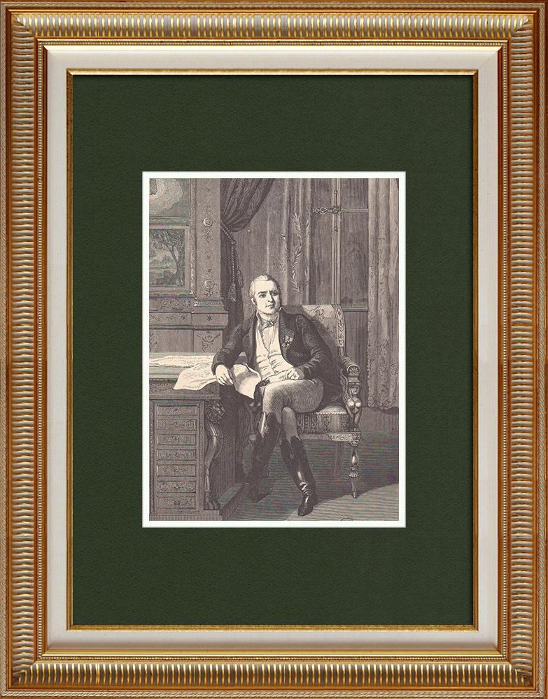 Gravures Anciennes & Dessins | Portrait du Comte de Lavalette (1769-1830) | Gravure sur bois | 1870