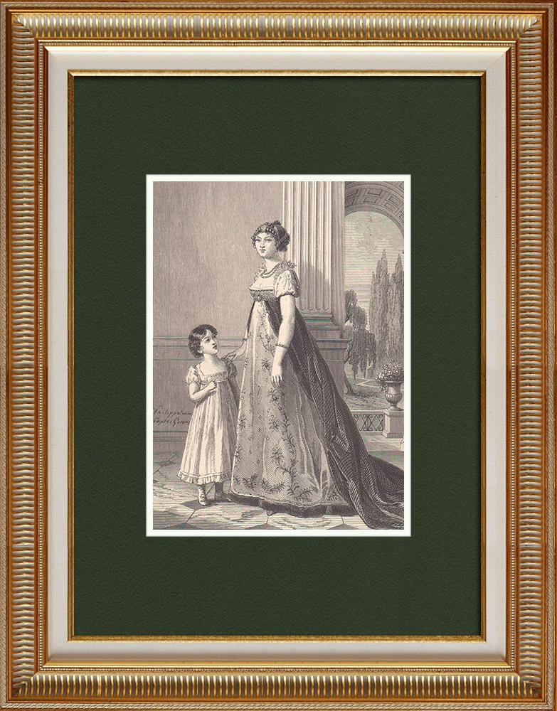Gravures Anciennes & Dessins | Portrait de Caroline Bonaparte, soeur de Napoléon Ier, avec sa fille Letizia (1782-1839)  | Gravure sur bois | 1870