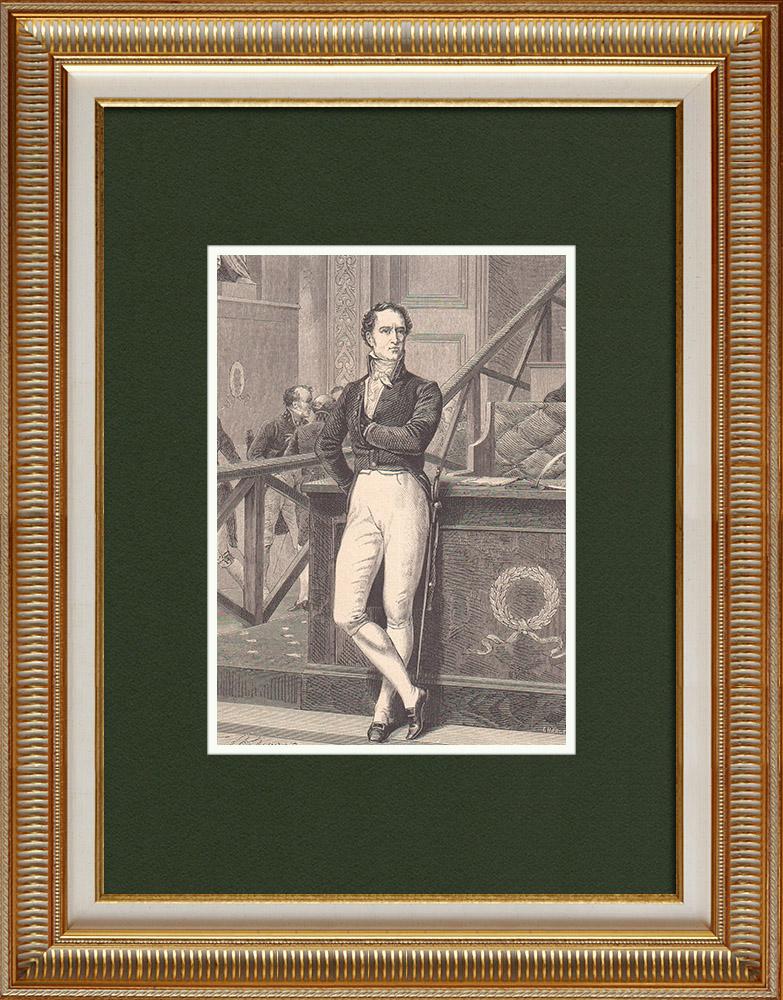 Gravures Anciennes & Dessins   Portrait de Jacques-Antoine Manuel (1775-1827)   Gravure sur bois   1870
