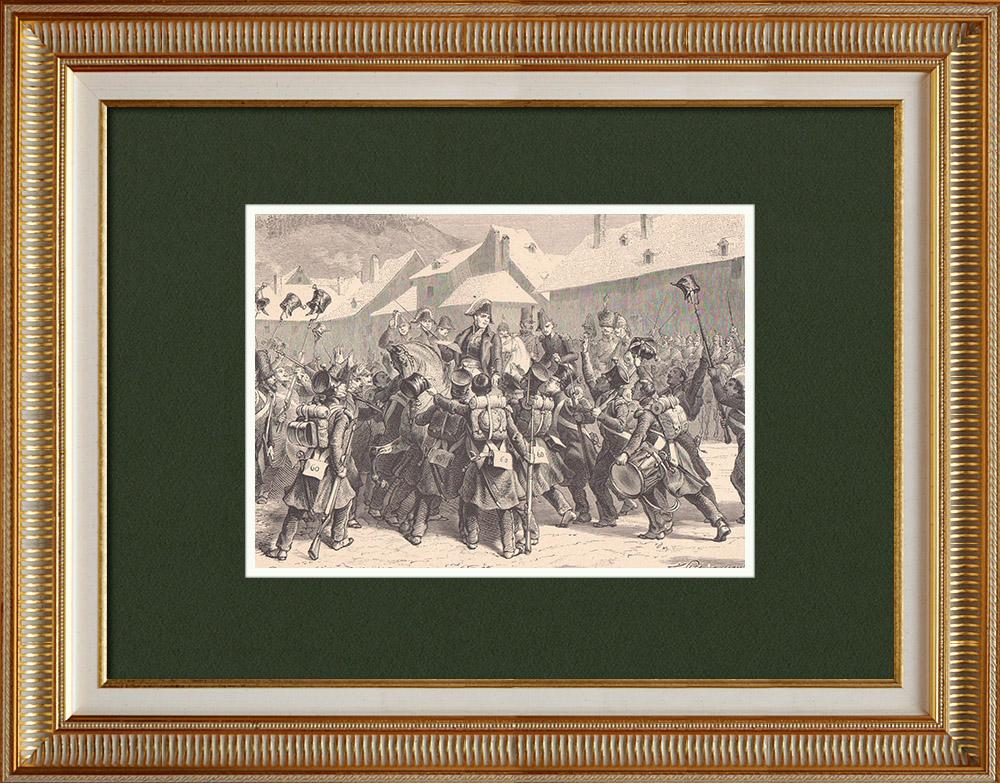 Gravures Anciennes & Dessins | Les Cent-Jours de Napoléon - Proclamation de Lons-le-Saunier par Ney (15 Mars 1815)  | Gravure sur bois | 1870