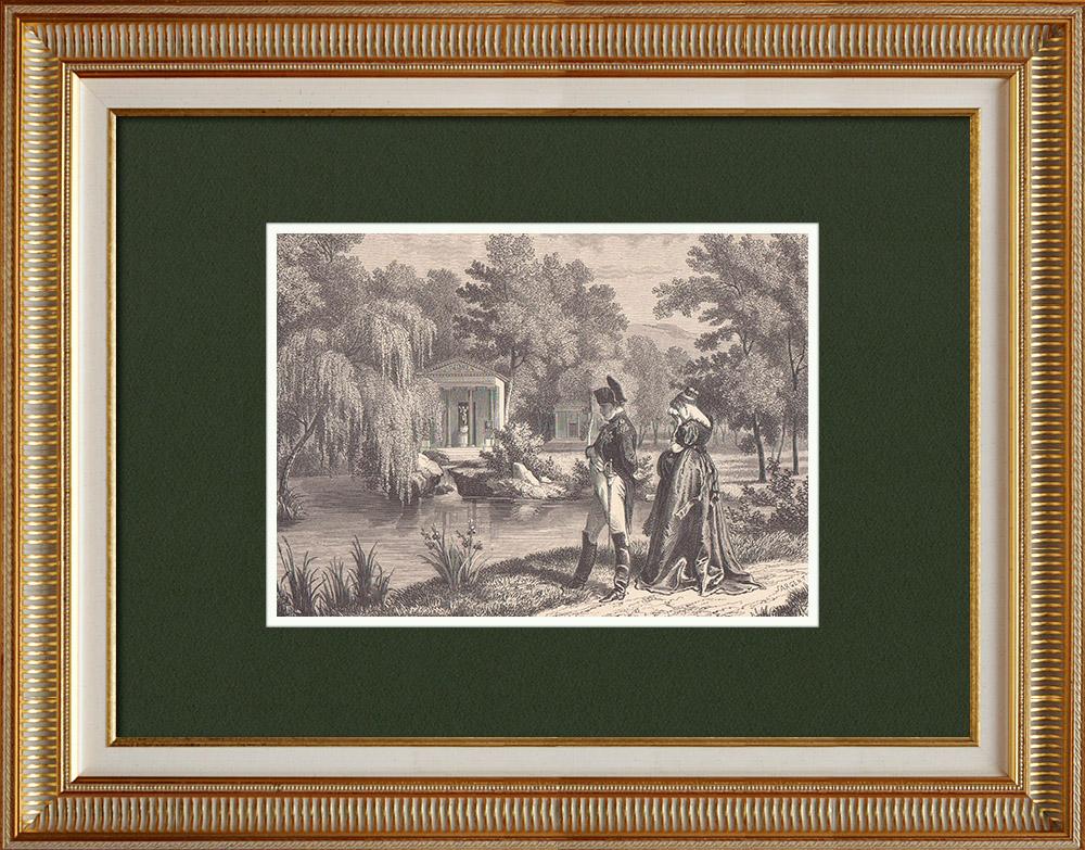 Gravures Anciennes & Dessins | Visite de Napoléon et de la reine Hortense de Beauharnais à la Malmaison | Gravure sur bois | 1870