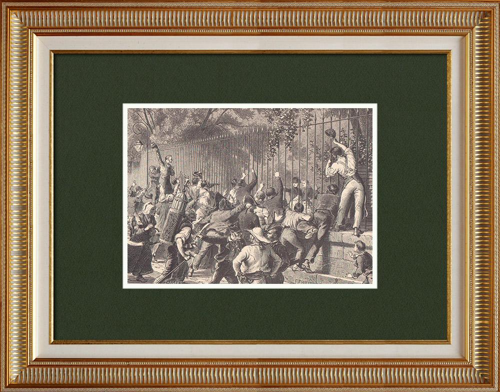 Gravures Anciennes & Dessins   Napoléon de retour à l'Elysée après la défaite de Waterloo (21 Juin 1815)   Gravure sur bois   1870