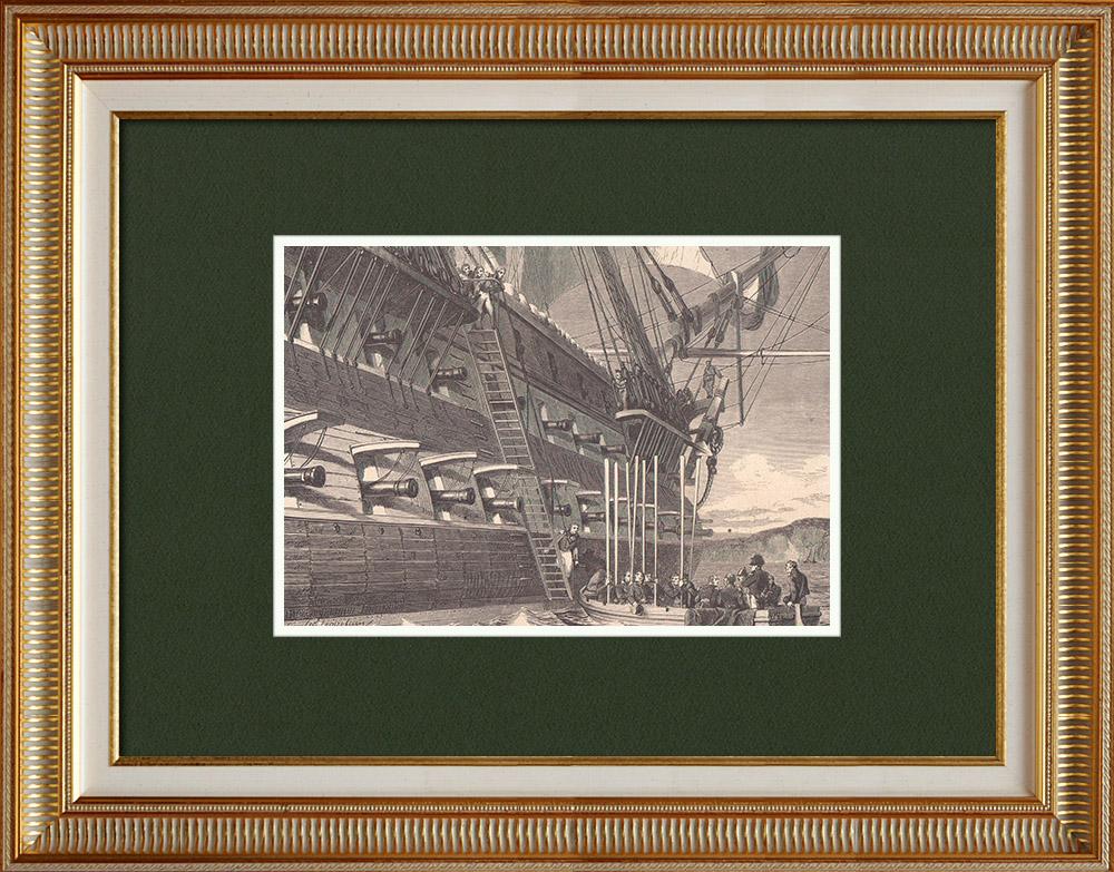 Gravures Anciennes & Dessins | Embarquement de Napoléon pour Sainte Hélène sur le Bellérophon (15 Juillet 1815) | Gravure sur bois | 1870
