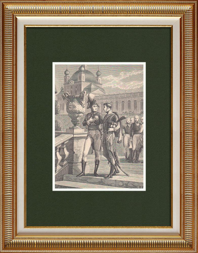 Gravures Anciennes & Dessins | Entretien d'Alexandre Ier et de Duroc - Premier Empire | Gravure sur bois | 1870