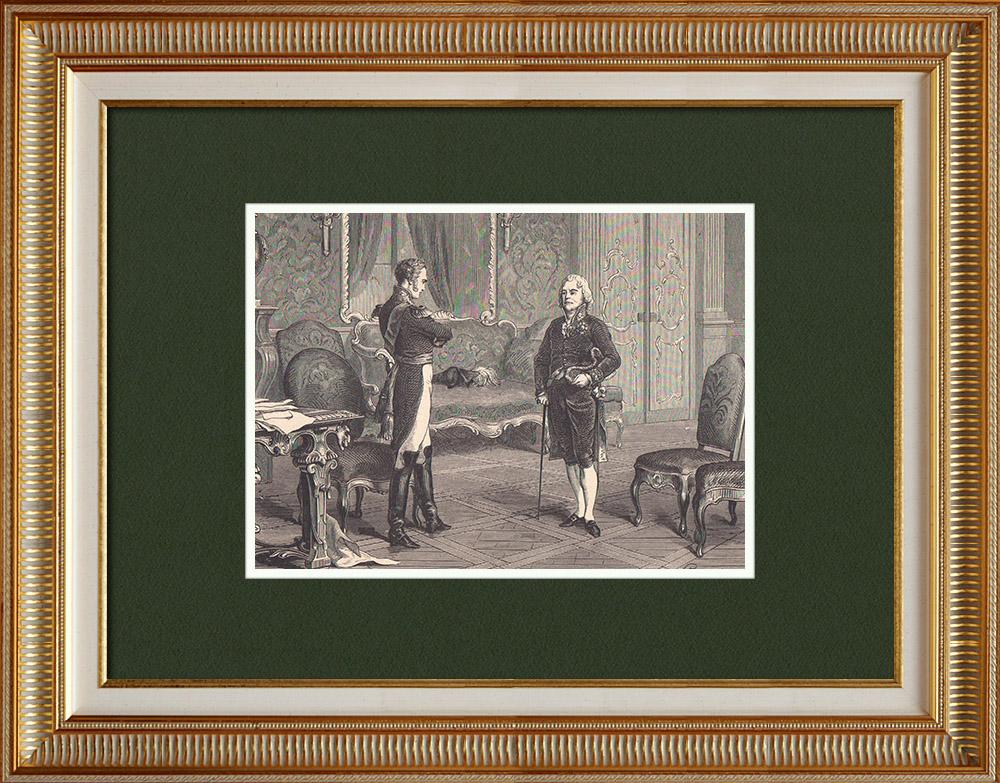 Gravures Anciennes & Dessins | Entretien de l'Empereur Alexandre avec Talleyrand (1808) | Gravure sur bois | 1870