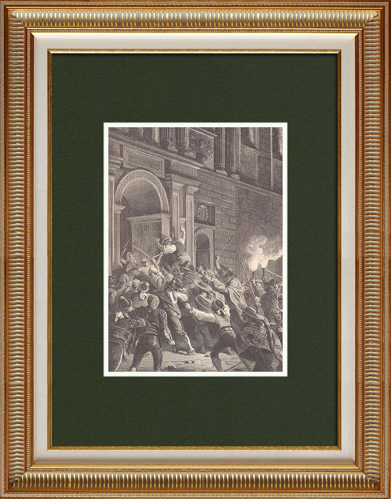 Gravures Anciennes & Dessins | Invasion du Palais du Prince de la Paix  - Palais Barberini - Rome | Gravure sur bois | 1870