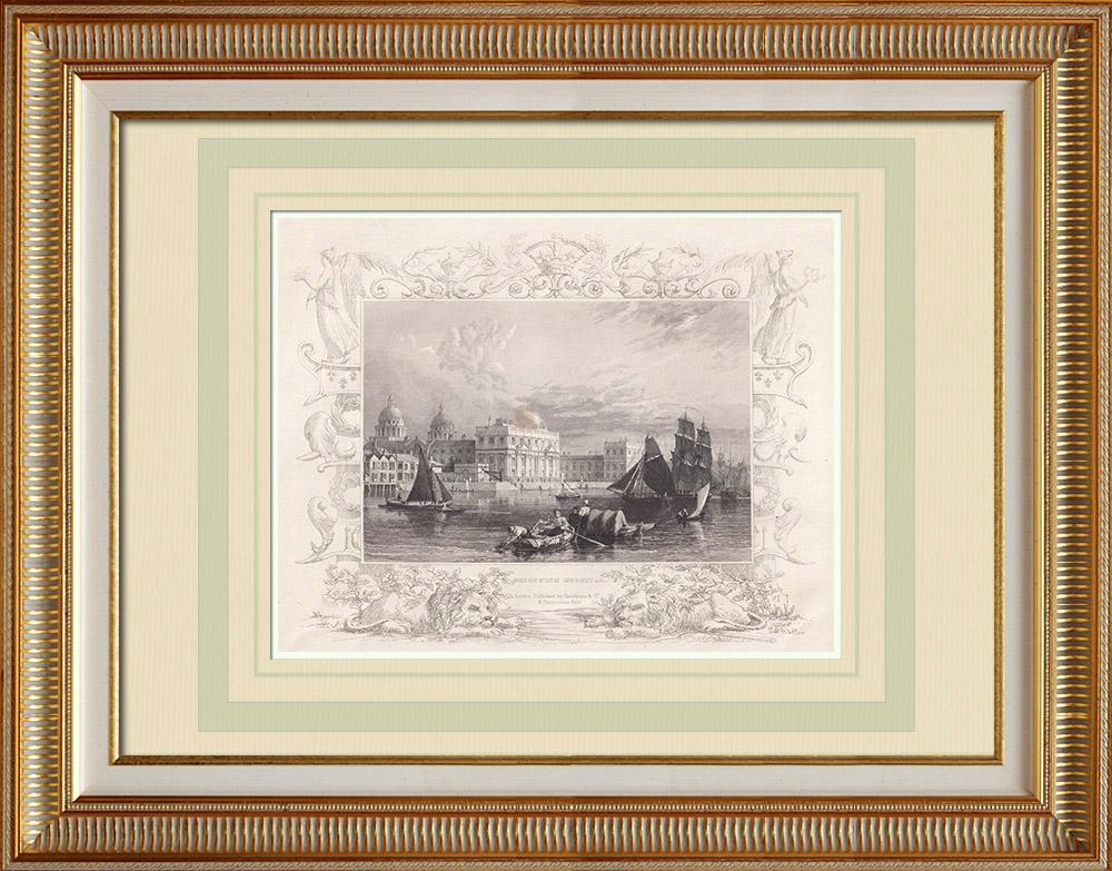 Gravures Anciennes & Dessins | Hôpital de Greenwich - Tamise - Londres (Angleterre) | Taille-douce | 1840