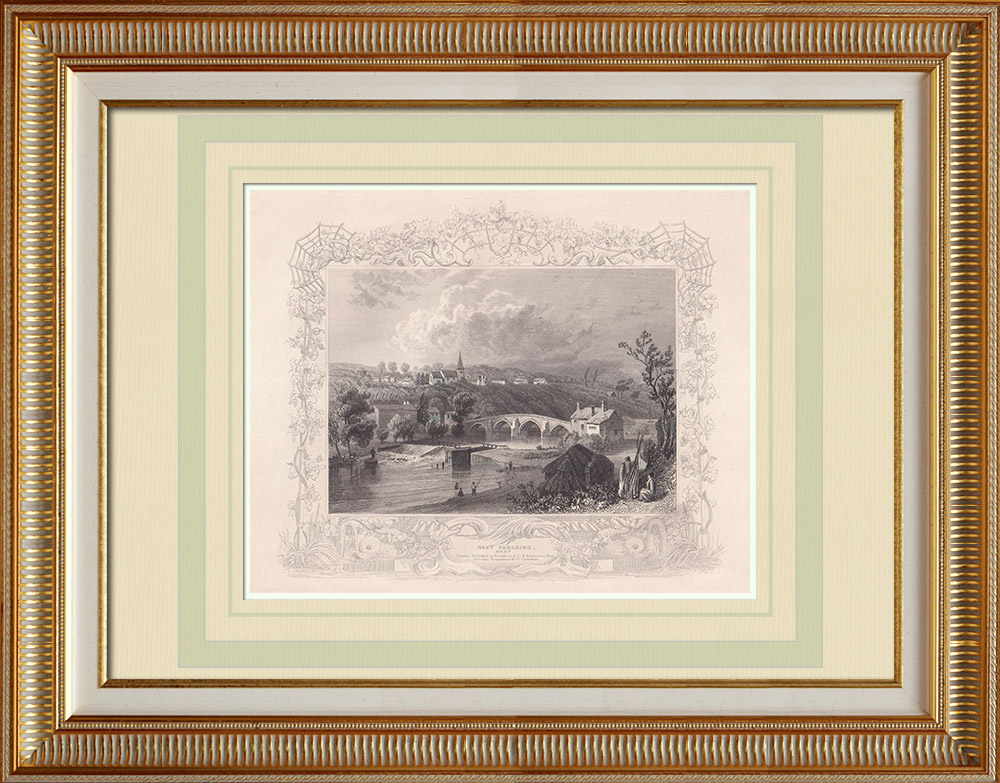Gravures Anciennes & Dessins | Vue de East Farleigh - Rivière Medway - Kent (Angleterre) | Taille-douce | 1840