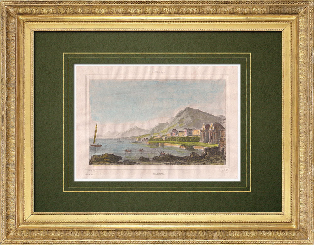 Stampe Antiche & Disegni | Veduta di Palermo - Baia - Monte Pellegrino - Sicilia (Italia) | Stampa calcografica | 1834
