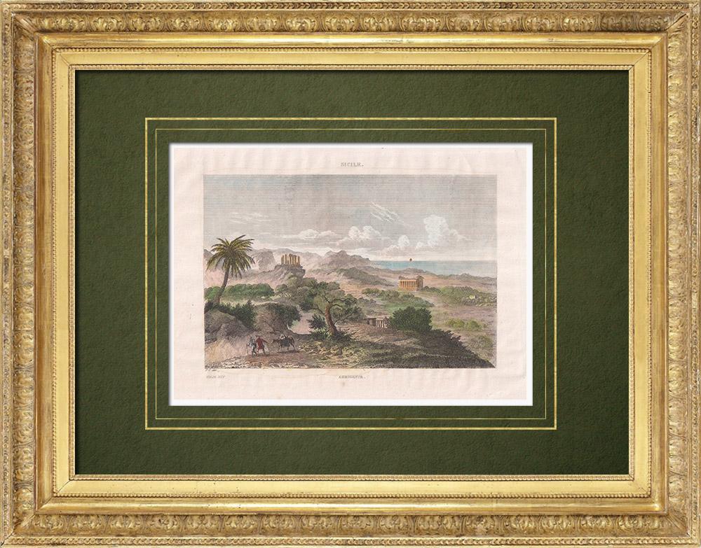Antique Print & Etching | Agrigento - Tal der Tempel - Sizilien (Italien) | Stahlstich | 1834