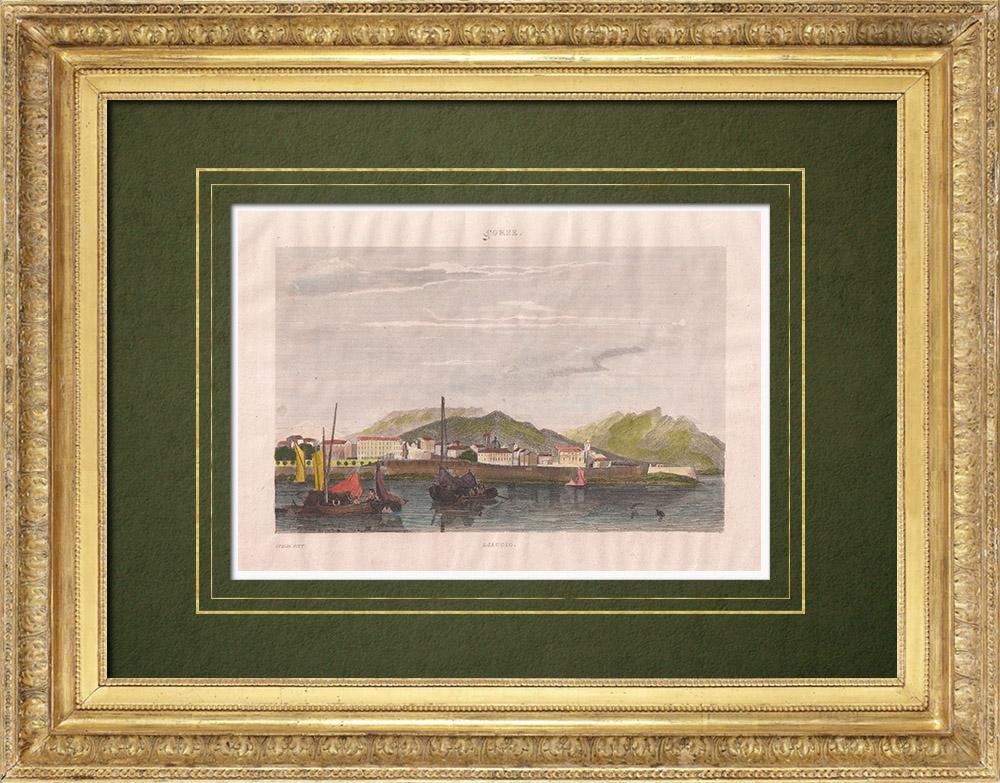 Gravures Anciennes & Dessins | Vue d'Ajaccio - Port - Corse (France) | Taille-douce | 1834