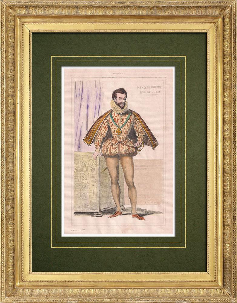 Gravures Anciennes & Dessins   Henri Ier de Guise dit le Balafré - Costume (1549-1588)   Taille-douce   1834