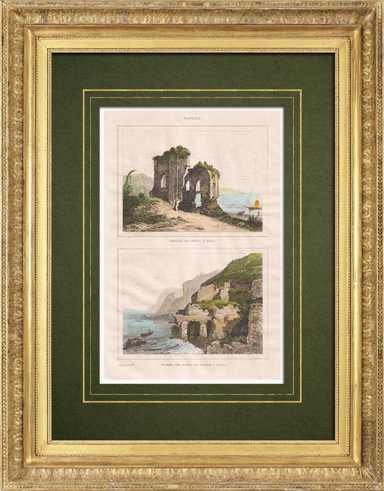 Antique Prints & Drawings | Temple of Venus in Baiae - Villa Jovis - Tiberius - Capri - Campania (Italy) | Intaglio print | 1834