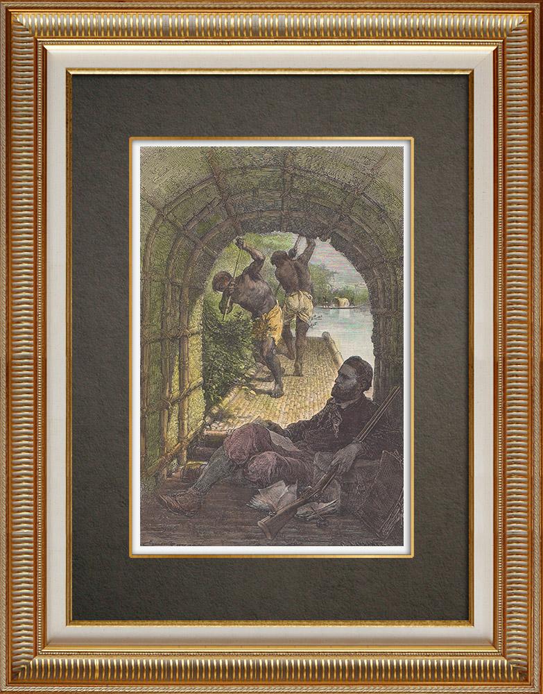 Gravures Anciennes & Dessins | Louis de Carné voyageant dans une barque Cambodgienne - Mékong (Asie) | Gravure sur bois | 1871