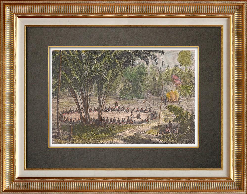 Gravures Anciennes & Dessins | La lutte - Jeu funèbre (Laos) | Gravure sur bois | 1871