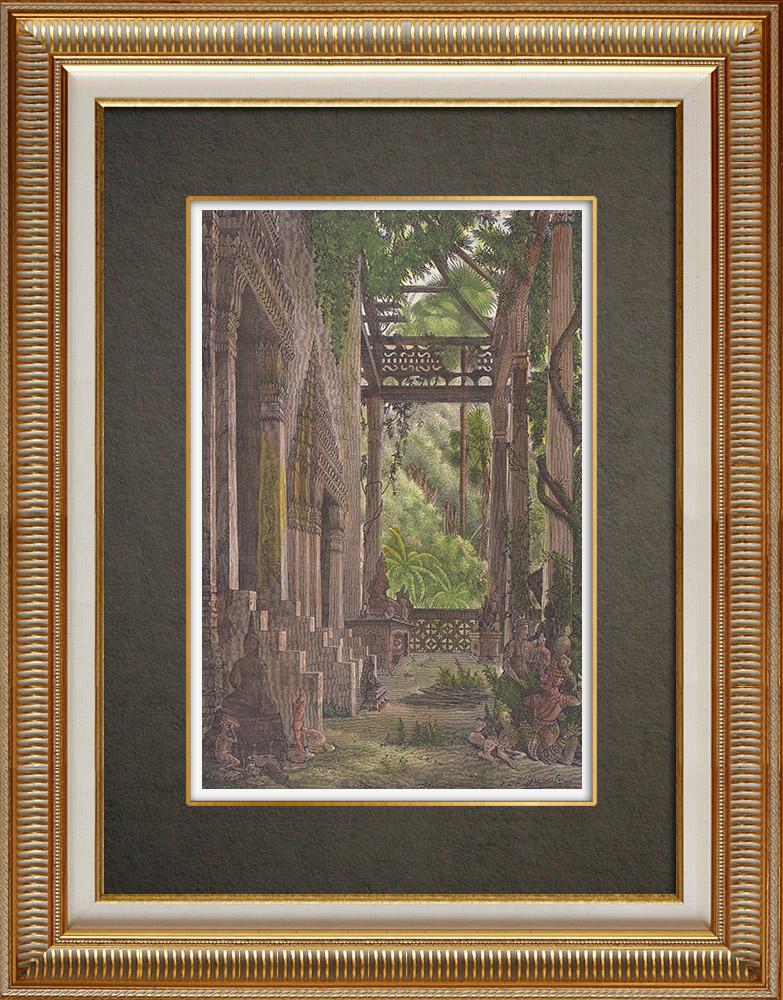 Gravures Anciennes & Dessins | Péristyle de Vat Phra Kèo à Vientiane (Laos) | Gravure sur bois | 1871